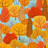 Seamless pattern with autumn stylized trees. Landscape seasonal illustration Vector Illustration
