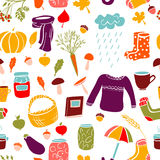 Seamless pattern with autumn symbols. Stock Images