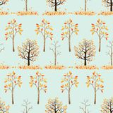 Seamless pattern of autumn trees with leaves falling in green background. Vector illustration of autumn background, Flat cartoon vector seamless for wall paper stock illustration