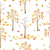 Seamless pattern of autumn trees with leaves falling in white background. Vector illustration of autumn background, Flat cartoon vector seamless for wall paper royalty free illustration