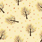 Seamless pattern of autumn trees with leaves falling in yellow background. Vector illustration of autumn background, Flat cartoon vector seamless for wall royalty free illustration