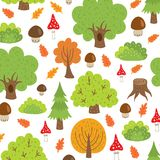 Seamless pattern autumn trees and mushrooms Royalty Free Stock Photo