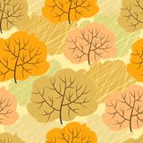 Seamless pattern with autumn trees. Vector Stock Images