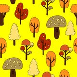 Seamless pattern with autumn trees. Vector illustration.  Royalty Free Stock Image
