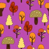 Seamless pattern with autumn trees. Vector illustration.  Royalty Free Stock Photography