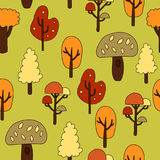 Seamless pattern with autumn trees. Vector illustration.  Royalty Free Stock Photo
