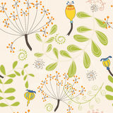 Seamless pattern of autumnal ferns and seed-heads Royalty Free Stock Photos