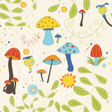 Seamless pattern of autumnal mushrooms and toadstools Stock Photography