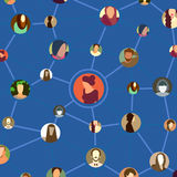 Seamless pattern, avatar faces in social network Stock Image