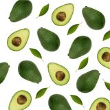 Seamless pattern with avocado and leaves on white background. Wh Stock Photo