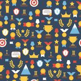 Seamless pattern of  award icons. Vector colorful Royalty Free Stock Image