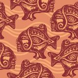Seamless pattern with aztec fish Royalty Free Stock Image