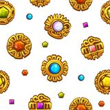 Seamless pattern Aztec symbols with colored precious gems. Golden icon vector illustration