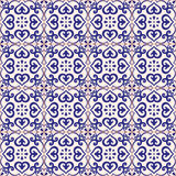 Seamless pattern azulejo light gray and dark blue. Stock Photo