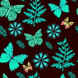 Seamless pattern azure butterflies,leaves, colors on brown stock illustration