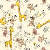 Seamless pattern. Babies hand draw seamless pattern with animals Royalty Free Stock Images