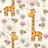 Seamless pattern. Babies hand draw seamless pattern with animals Royalty Free Stock Image