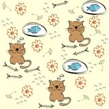 Seamless pattern. Babies hand draw seamless pattern with cats Stock Photography