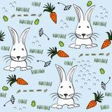 Seamless pattern. Babies hand draw seamless pattern with rabbits Stock Photo