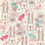 Seamless pattern. Babies hand draw seamless pattern with rabbits Royalty Free Stock Photography