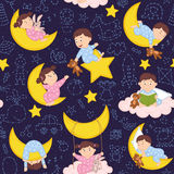 Seamless pattern with babies on the moon Stock Images