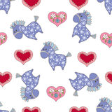 Seamless pattern with baby animals. Decorative background with cute baby horses and hearts Royalty Free Stock Images