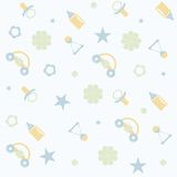 Seamless pattern for Baby boy. Cute Newborn seamless pattern for Baby boy. New born baby infographic. Illustration Stock Photography