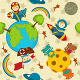 Seamless pattern baby boy in space Royalty Free Stock Images