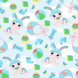 Seamless pattern with baby boy and toys - vector illustration, eps royalty free illustration