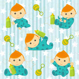 Seamless pattern with baby boy Stock Images