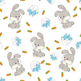 Seamless pattern baby Bunny. Pattern with hare, carrot and letter Royalty Free Stock Photo