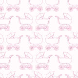 Seamless pattern baby carriage for doughter. Baby girl wallpaper. Pink textile. Seamless pattern background baby carriage for doughter. Baby girl wallpaper Royalty Free Stock Photo