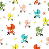 Seamless pattern with baby carriage Stock Images