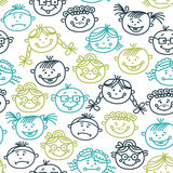 Seamless pattern of baby cartoon faces Royalty Free Stock Photos