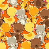 Seamless pattern with baby cat, bear, fox and duck Stock Images
