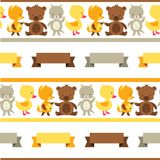 Seamless pattern with baby cat, bear, fox and duck Royalty Free Stock Photos