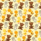 Seamless pattern with baby cat, bear, fox and duck Royalty Free Stock Images