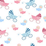 Seamless pattern with baby design. Decorative background with baby and prams Stock Photos