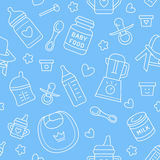 Seamless pattern baby food, pastel color, vector illustration. Infant feeding thin line icons. Cute repeated blue texture, baby it Royalty Free Stock Image
