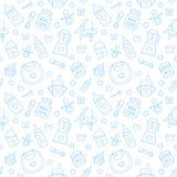 Seamless pattern baby food, pastel color, vector illustration. Infant feeding thin line icons. Cute repeated blue texture, baby it Stock Photo
