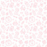 Seamless pattern baby food, pastel color, vector illustration. Infant feeding thin line icons. Cute repeated pink texture, baby it Stock Images