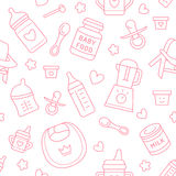 Seamless pattern baby food, pastel color, vector illustration. Infant feeding thin line icons. Cute repeated pink texture, baby it Stock Photography