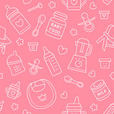 Seamless pattern baby food, pastel color, vector illustration. Infant feeding thin line icons. Cute repeated pink texture, baby it. Em for packaging, baby shower Royalty Free Stock Photo