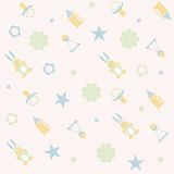 Seamless pattern for Baby girl. Cute Newborn seamless pattern for Baby girl. New born baby infographic. Illustration Royalty Free Stock Image