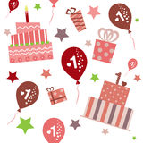 Seamless pattern, baby girl first birthday. Royalty Free Stock Photos