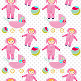 Seamless pattern with baby girl items background Stock Images