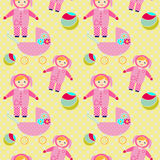 Seamless pattern with baby girl items Royalty Free Stock Images