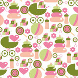 Seamless Pattern for Baby Girl. Kids Staff in Pink and Green Stock Photography