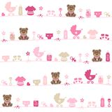 Seamless Pattern Baby Girl Teddy Pink And Beige royalty free illustration