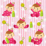 Seamless pattern with baby girl -. Vector illustration, eps Stock Photos